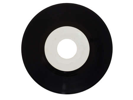 rpm: Single vinyl record vintage analog music recording medium 45 rpm isolated over white, white label