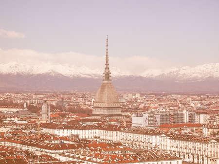 birdeye: Turin skyline panorama seen from the hills surrounding the city vintage