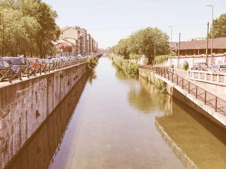 grande: Naviglio Grande, canal waterway in Milan, Italy vintage