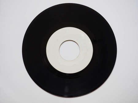 rpm: Single vinyl record vintage analog music recording medium 45 rpm white label