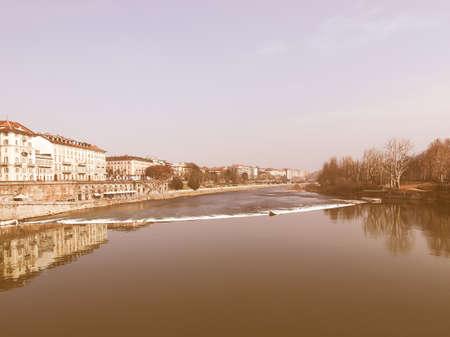 po: Fiume Po (River Po) in Turin, Italy vintage Stock Photo