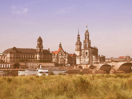 holy trinity: Dresden Cathedral of the Holy Trinity aka Hofkirche Kathedrale Sanctissimae Trinitatis in Dresden Germany vintage Stock Photo