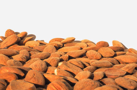 dried fruit: Almonds dried fruit food heap with copy space above