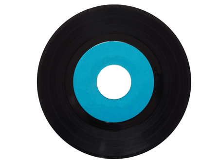 rpm: Single vinyl record vintage analog music recording medium 45 rpm isolated over white, blue label