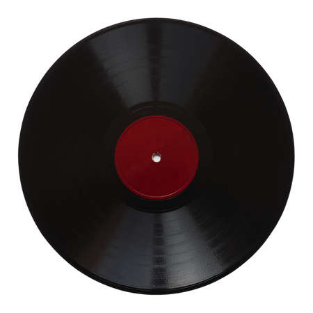 record label: Vintage 78 rpm music record isolated over white with blank red label Stock Photo