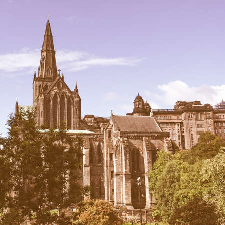 kirk: Glasgow cathedral aka High Kirk of Glasgow or St Kentigern or St Mungo vintage Stock Photo
