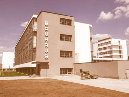 bauhaus: DESSAU, GERMANY - AUGUST 6: The Bauhaus building masterpiece of modern architecture in the Unesco World Heritage List on August 6, 2009 in Dessau, Germany vintage Editorial