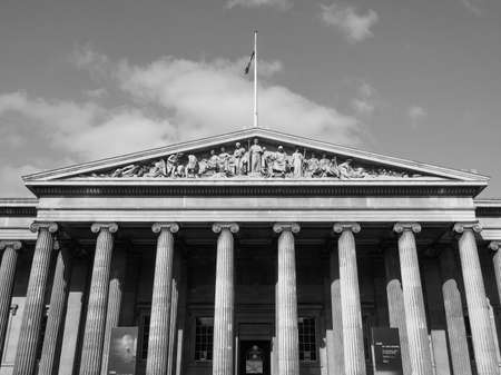 british museum: LONDON, UK - SEPTEMBER 28, 2015: The British Museum in black and white Editorial