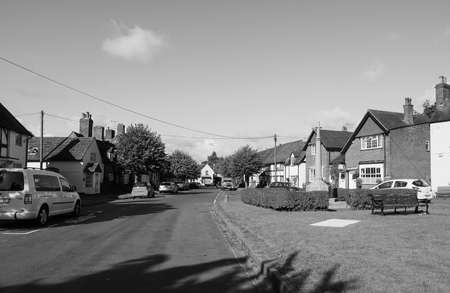 arden: TANWORTH IN ARDEN, UK - SEPTEMBER 25, 2015: The Village Green in black and white