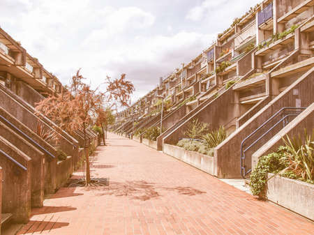 alexandra: LONDON, ENGLAND, UK - MAY 06, 2010: The Alexandra Road estate designed in 1968 by Neave Brown applies the terraced house model to high-density public housing is a masterpiece of new brutalist architecture vintage