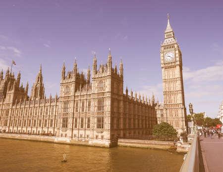 seen: LONDON, UK - JUNE 10, 2015: Houses of Parliament aka Westminster Palace seen from Westminster Bridge vintage