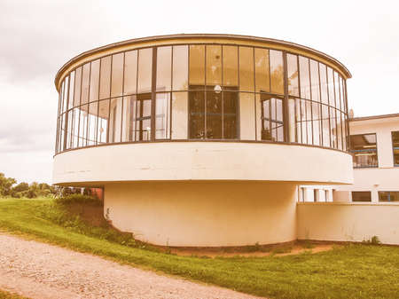 granary: DESSAU, GERMANY - JUNE 13, 2014: Kornhaus meaning Granary is a restaurant designed by Carl Fieger in 1929 on the river Elbe in Dessau Rosslauer belonging to the Bauhaus vintage