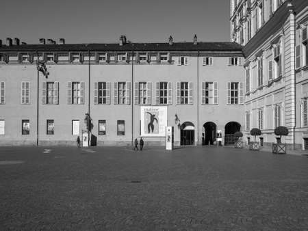 henri: TURIN, ITALY - CIRCA MARCH 2016: Entrance to the Henri Matisse exhibition at Palazzo Chiablese in black and white Editorial
