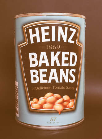 tin can: PITTSBURGH, USA - JANUARY 6, 2015: Tin can of Heinz baked beans in tomato sauce vintage