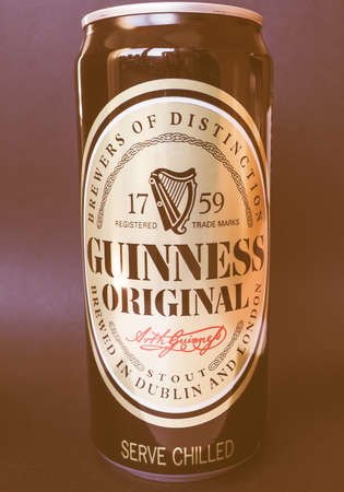 guinness beer: DUBLIN, IRELAND - JANUARY 6, 2015: Can of Guinness stout beer vintage Editorial