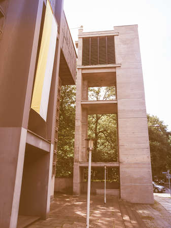 gdr: LEIPZIG, GERMANY - JUNE 12, 2014: The Propsteikirche St Trinitas meaning Church of St Trinity parish church designed in 1968 by the school of architecture of the GDR is a masterpiece of modern architecture vintage