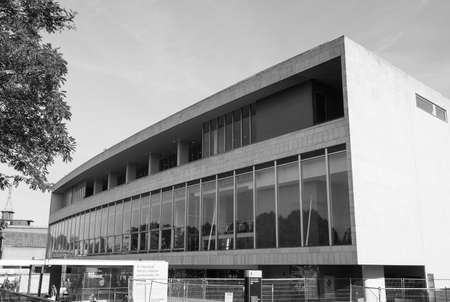 venue: LONDON, UK - SEPTEMBER 29, 2015: The Royal Festival Hall built as part of the Festival of Britain national celebrations in 1951 is still in use as a major music and entertainment venue in black and white