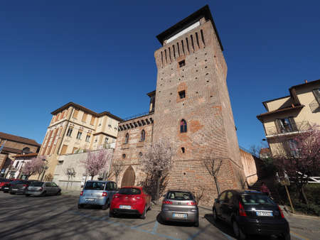 municipal editorial: SETTIMO TORINESE, ITALY - CIRCA MARCH 2016: Torre Medievale medieval tower and castle now part of the town hall