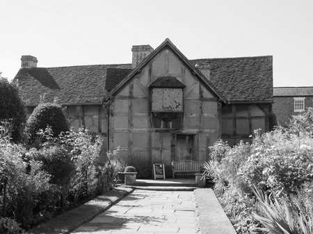 birthplace: STRATFORD UPON AVON, UK - SEPTEMBER 26, 2015: William Shakespeare birthplace in black and white