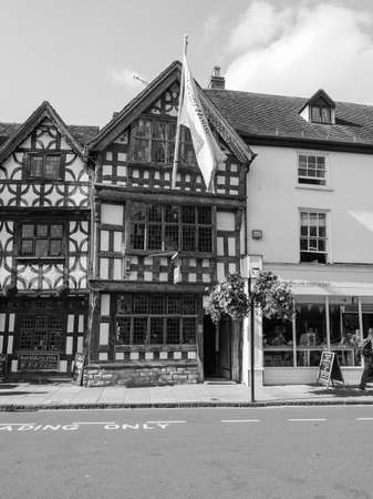harvard: STRATFORD UPON AVON, UK - SEPTEMBER 26, 2015: Harvard House is the most elaborately decorated Elizabethan house build during Shakespeare lifetime in black and white