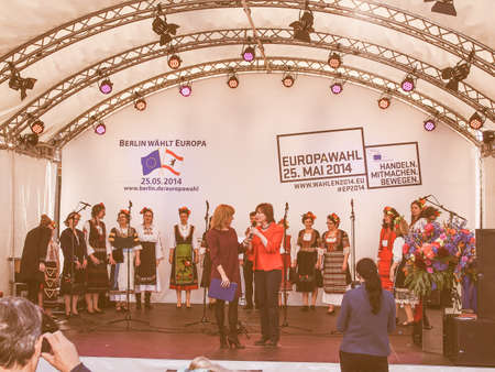 voices: Bulgarian Voices Choir at the Europafest at Brandenburg Gate for the forthcoming European elections (Europawahl) moderated by Marion Pinkpank from Radio Berlin vintage Editorial