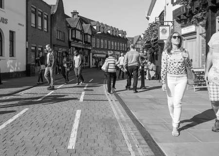 birthplace: STRATFORD UPON AVON, UK - SEPTEMBER 26, 2015: Tourists visiting the city of Stratford, birthplace of William Shakespeare in black and white