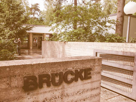 expressionist: BERLIN, GERMANY - MAY 11, 2014: The Bruecke Museum of the Expressionism host the major collection of German expressionist paintings vintage