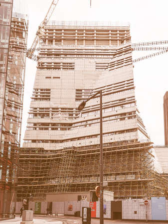 powerstation: LONDON, UK - JUNE 10, 2015: Extension to the Tate Modern art gallery in South Bank powerstation designed by Swiss architects Herzog and De Meuron vintage