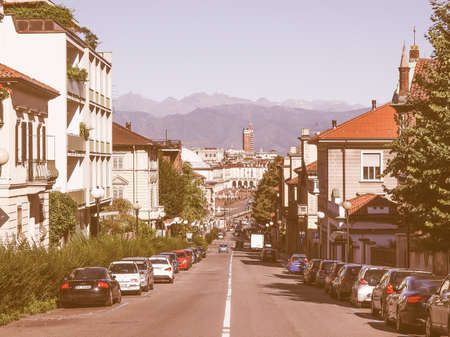 regina: TURIN, ITALY - AUGUST 14, 2014: View of Turin from the hill in Via Villa della Regina Street vintage