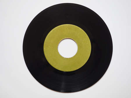 rpm: Single vinyl record vintage analog music recording medium 45 rpm green label
