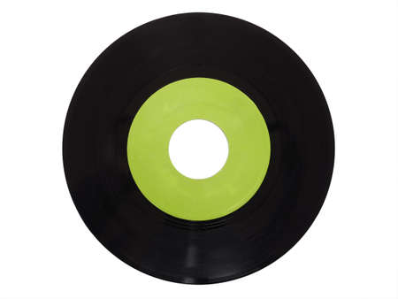 rpm: Single vinyl record vintage analog music recording medium 45 rpm isolated over white, green label