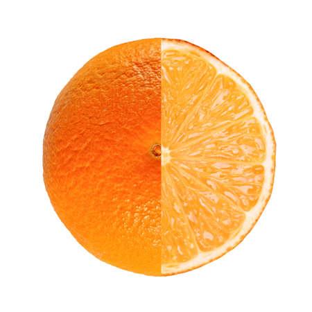 sweet orange: Sweet orange (Citrus x sinensis) fruit vegetarian food full and sliced isolated Stock Photo