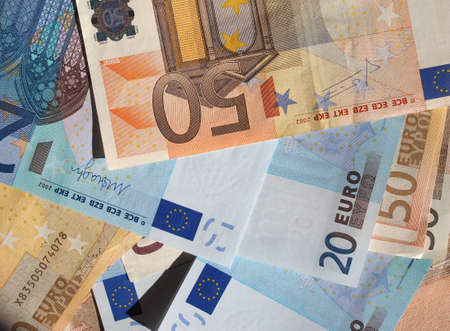 twenty: Fifty and Twenty Euro banknotes currency of the European Union Stock Photo