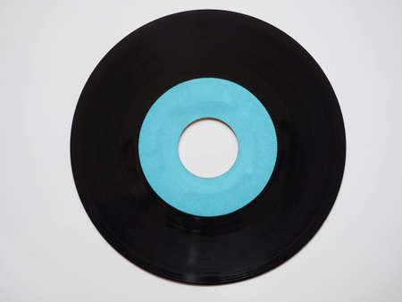 rpm: Single vinyl record vintage analog music recording medium 45 rpm blue label