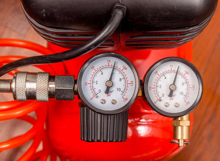 air pressure: Detail of air compressor with manometer to measure air pressure
