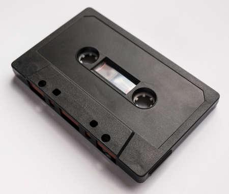 magnetic: Black magnetic tape cassette for analog audio music recording Stock Photo