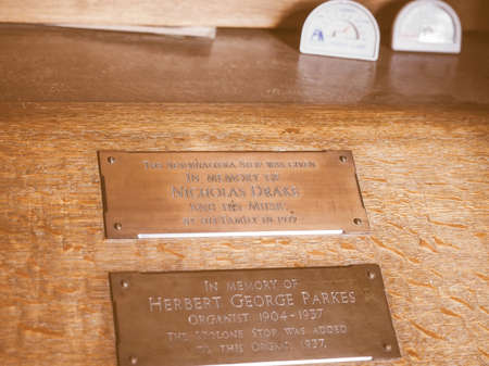 arden: TANWORTH IN ARDEN, UK - SEPTEMBER 25, 2015: Organ at Parish Church of St Mary Magdalene dedicated to Nicholas Drake vintage