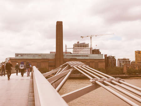 powerstation: LONDON, UK - JUNE 10, 2015: Tate Modern art gallery in South Bank powerstation among the largest and most visited art galleries in the UK vintage