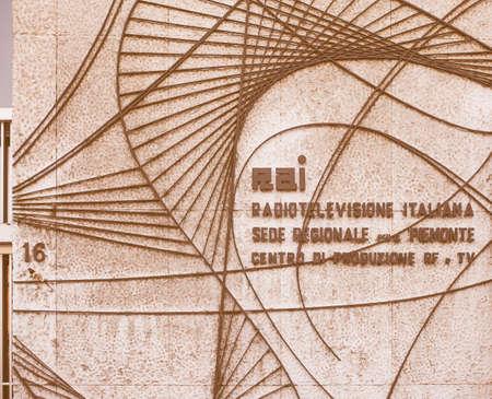 verdi: TURIN, ITALY - FEBRUARY 19, 2015: RAI logo at the Italian state TV production centre and broadcasting house in Via Verdi vintage