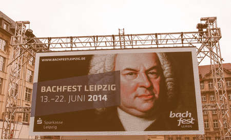 maxi: LEIPZIG, GERMANY - JUNE 14, 2014: Maxi screen at the Bachfest annual summer music festival celebrating baroque musician Johann Sebastian Bach in his town vintage