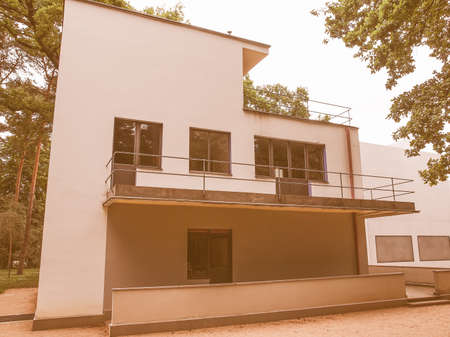 kandinsky: DESSAU, GERMANY - JUNE 13, 2014: Bauhaus masters houses designed in 1925 for Walter Gropius, Laszlo Moholy Nagy, Lyonel Feininger, Georg Muche, Oskar Schlemmer, Wassily Kandinsky and Paul Klee vintage