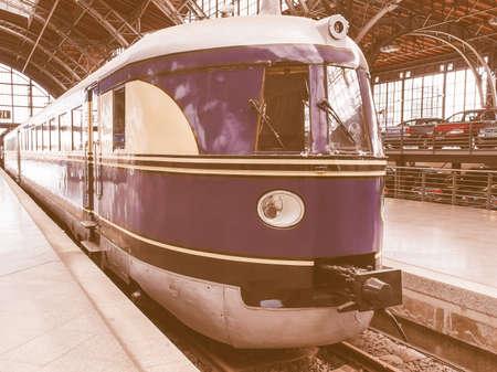 LEIPZIG, GERMANY - JUNE 12, 2014: DRG Class SVT 137 diesel train locomotive of the Deutsche Reichsbahn at Leipzig Hbf station vintage