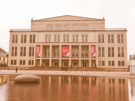 venue: LEIPZIG, GERMANY - JUNE 14, 2014: The new Opera House built in 1956 is the main music venue in Leipzig vintage
