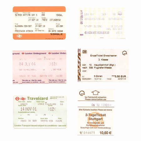 illustrative editorial: London, UK - January 23, 2014: Illustrative editorial British and German public transport tickets for train bus and subway vintage