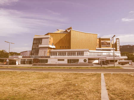 hans: BERLIN, GERMANY - AUGUST 07, 2009: The Berliner Philarmonie concert hall is a masterpiece of modern architecture designed by Hans Scharoun in1960 as part of the Kulturforum and home of Berliner Philharmoniker orchestra vintage