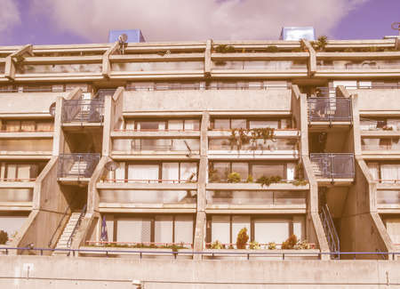 alexandra: LONDON, ENGLAND, UK - MARCH 07, 2008: The Alexandra Road estate designed in 1968 by Neave Brown applies the terraced house model to high-density public housing is a masterpiece of new brutalist architecture vintage Editorial