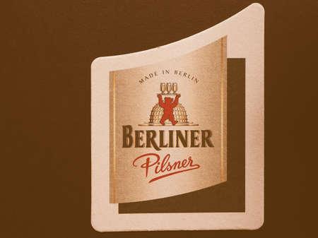 pilsner: BERLIN, GERMANY - DECEMBER 11, 2014: Beermat of German beer Berliner Pilsner vintage Editorial