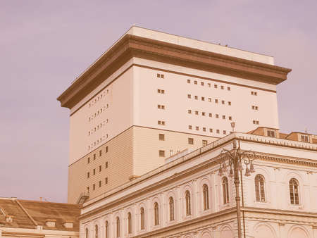 felice: GENOA, ITALY - MARCH 16, 2014: The Teatro Carlo Felice opera house was designed by architect Aldo Rossi following the destruction of the old theatre by fire vintage Editorial