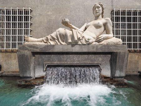 dora: Fountain and Statue symbolising river Dora in Turin, Italy