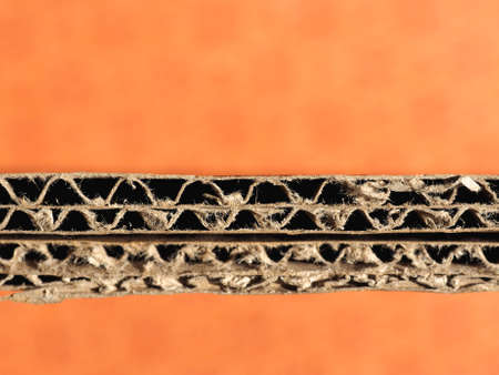 corrugated cardboard: Cross section of brown corrugated cardboard sheet Stock Photo